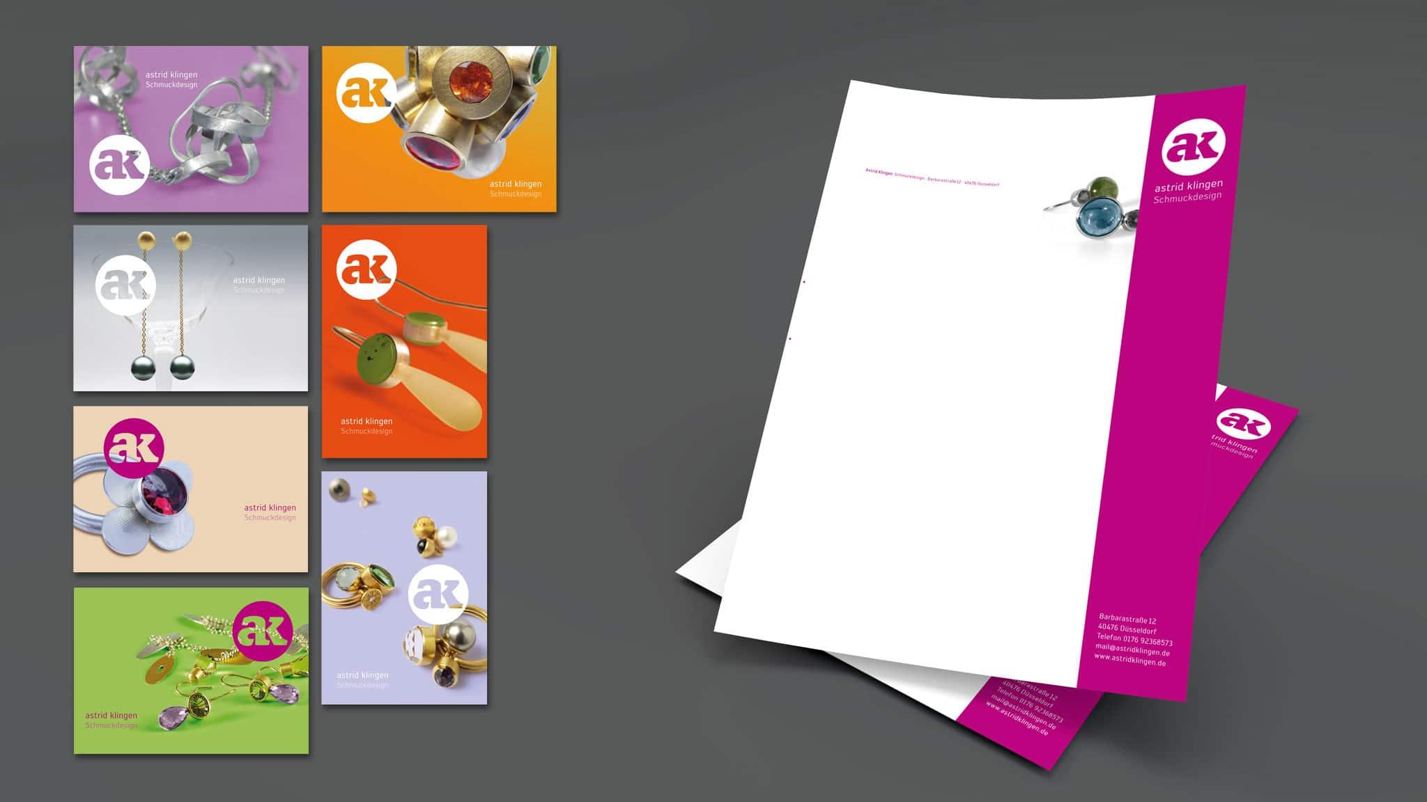 Einladungskarten und Briefbogen für ein Schmuckgeschäft