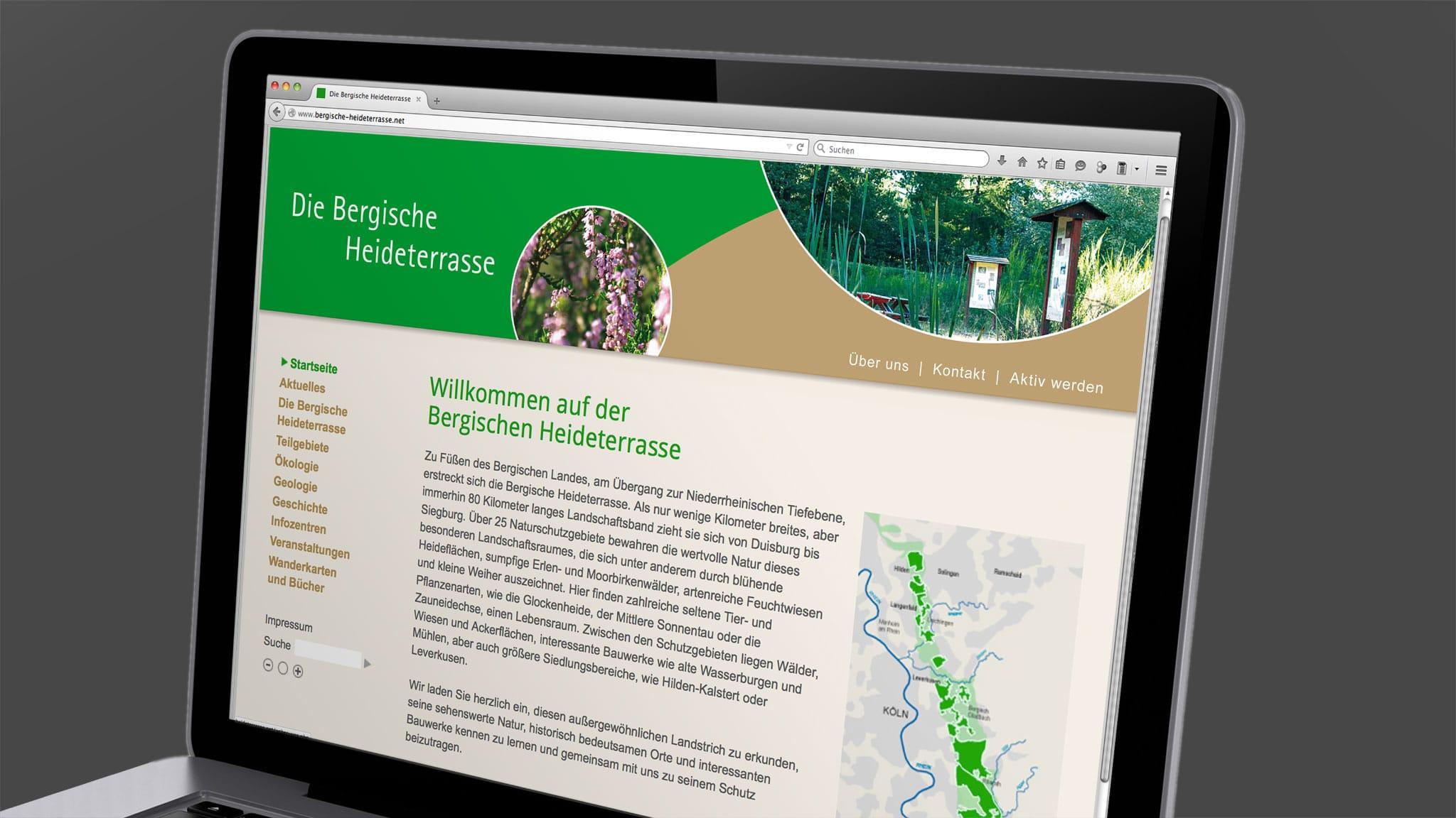 Homepagedesign für die Bergische Heideterasse