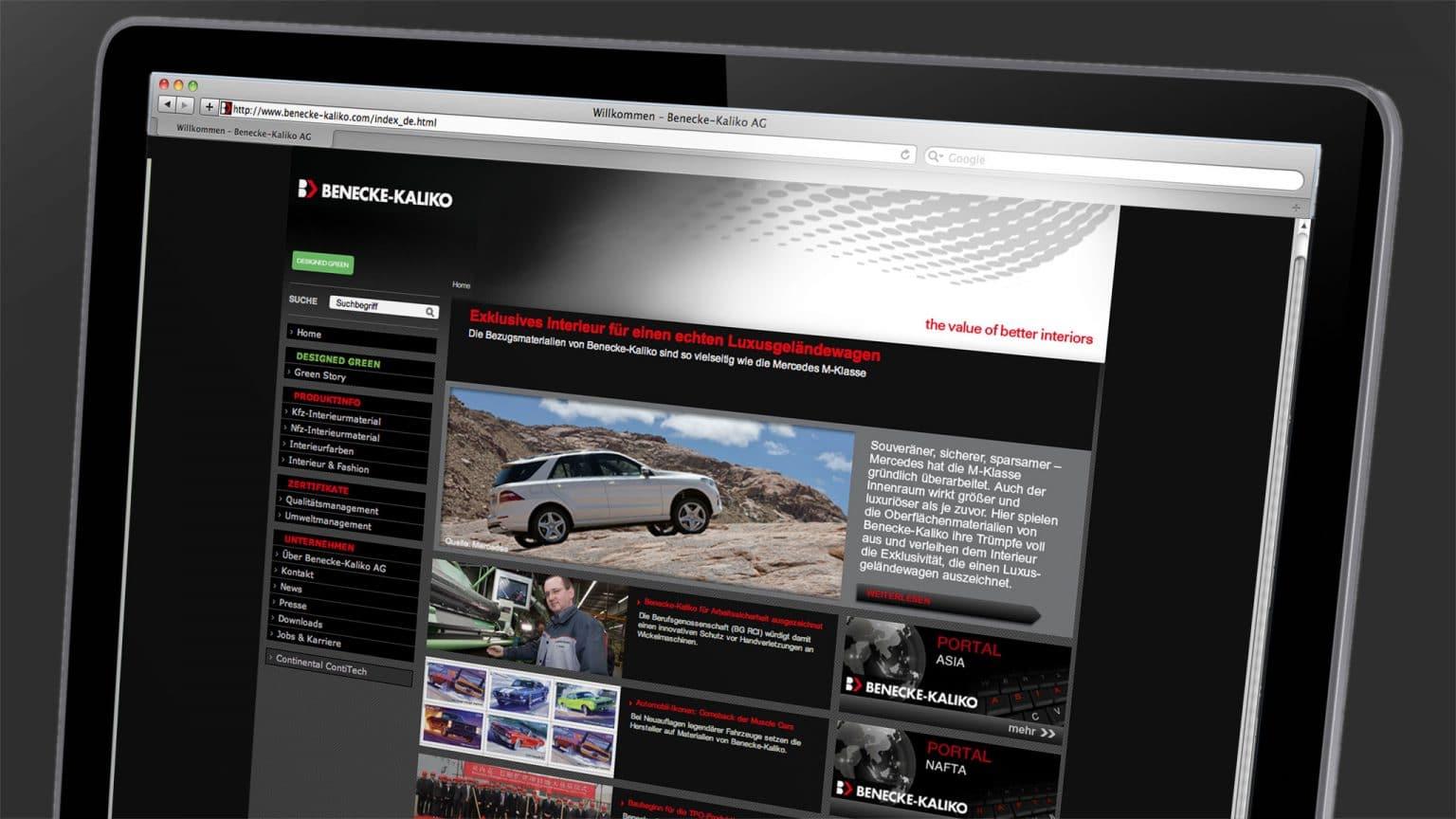 Homepage Gestaltung für Benecke Kaliko