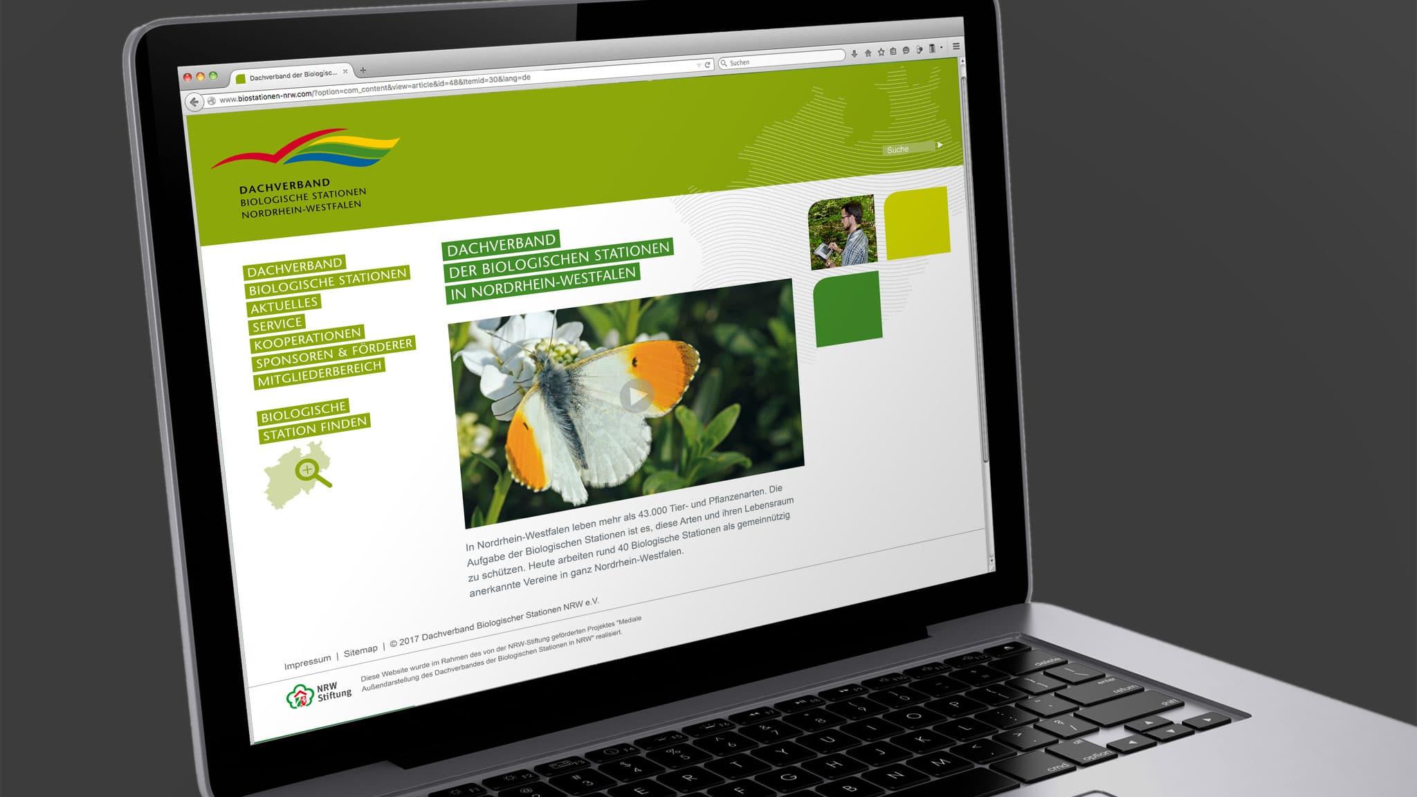 Homepage Design für den Dachverband der Biostationen NRW