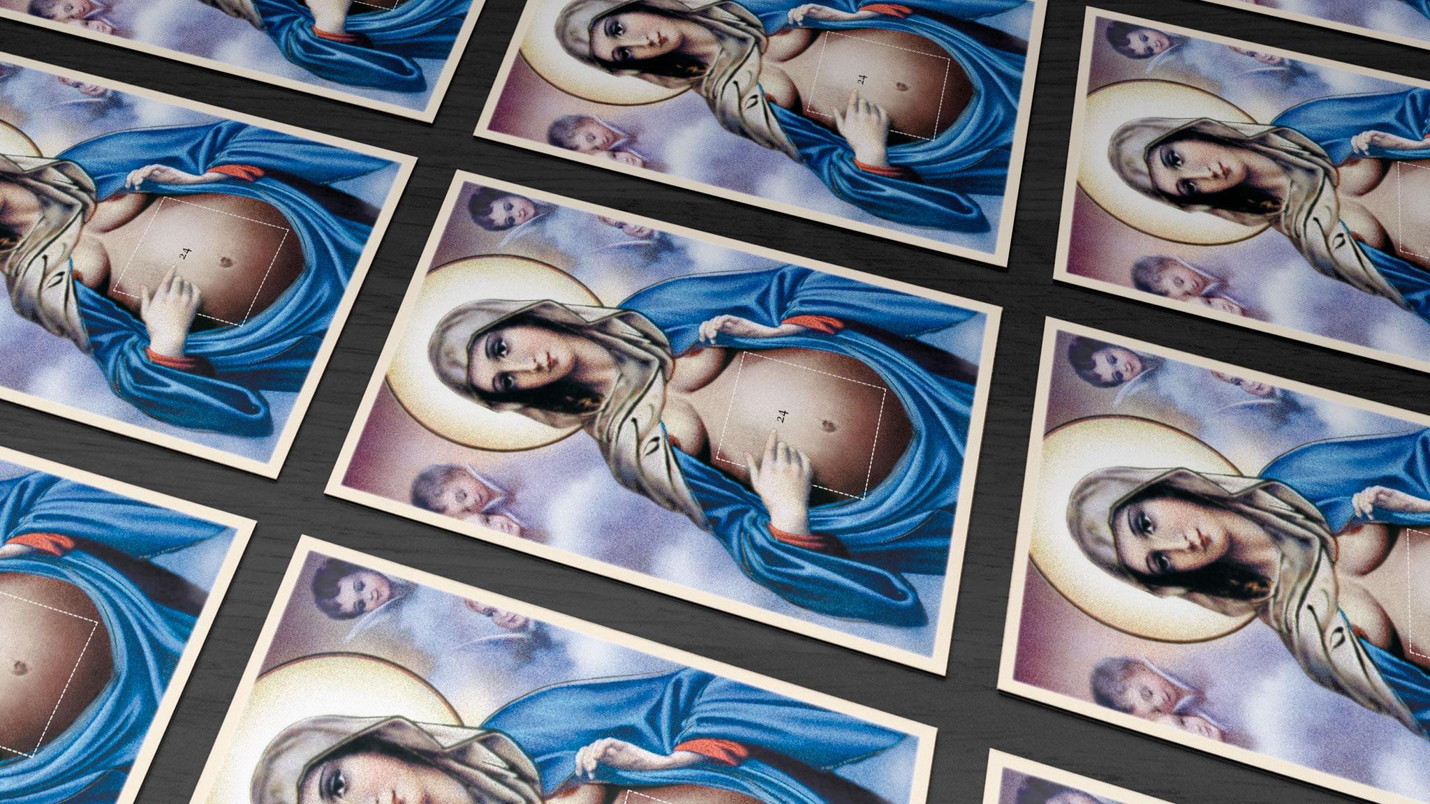 Postkartengestaltung der schwangeren Maria