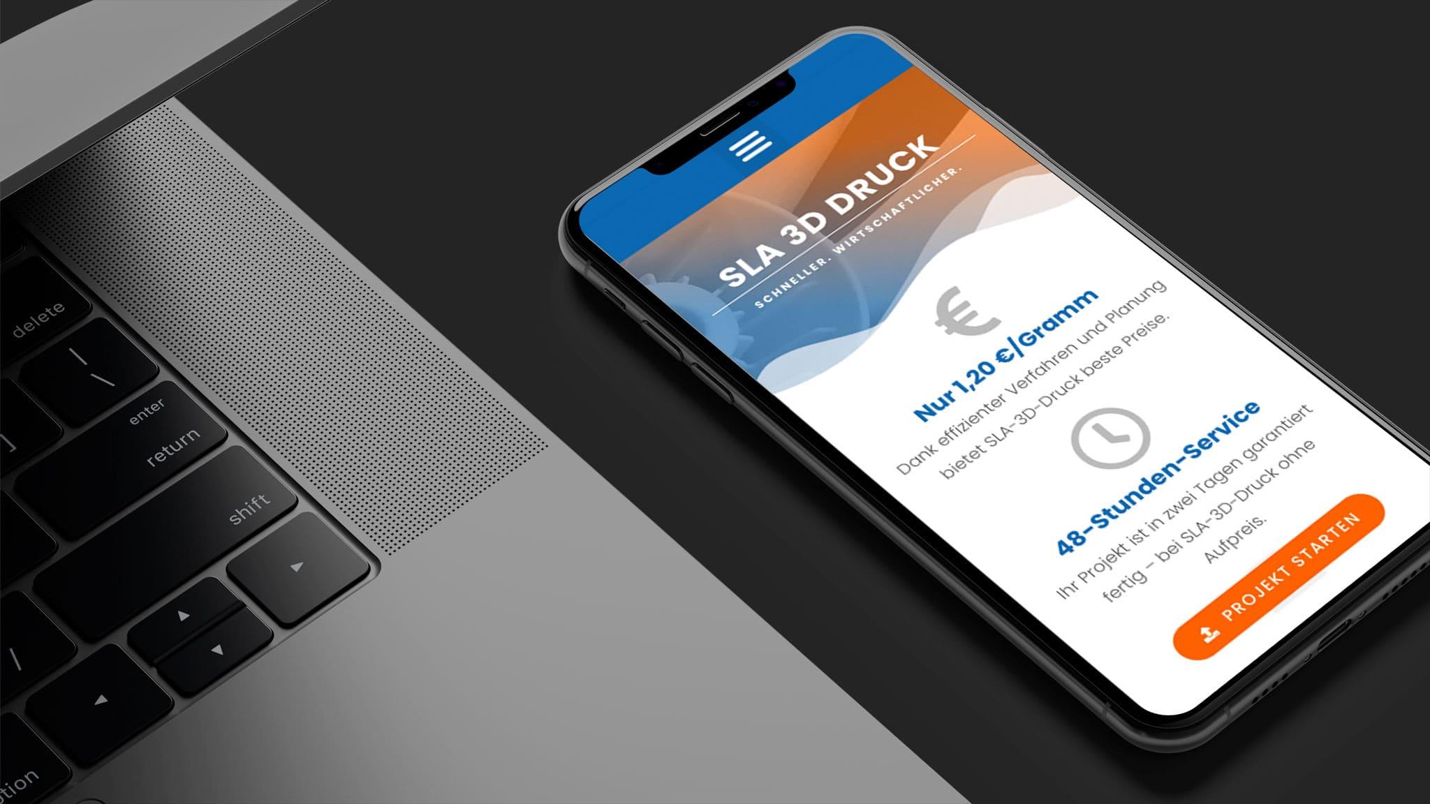 Homepage für mobile für SLA 3D Druck