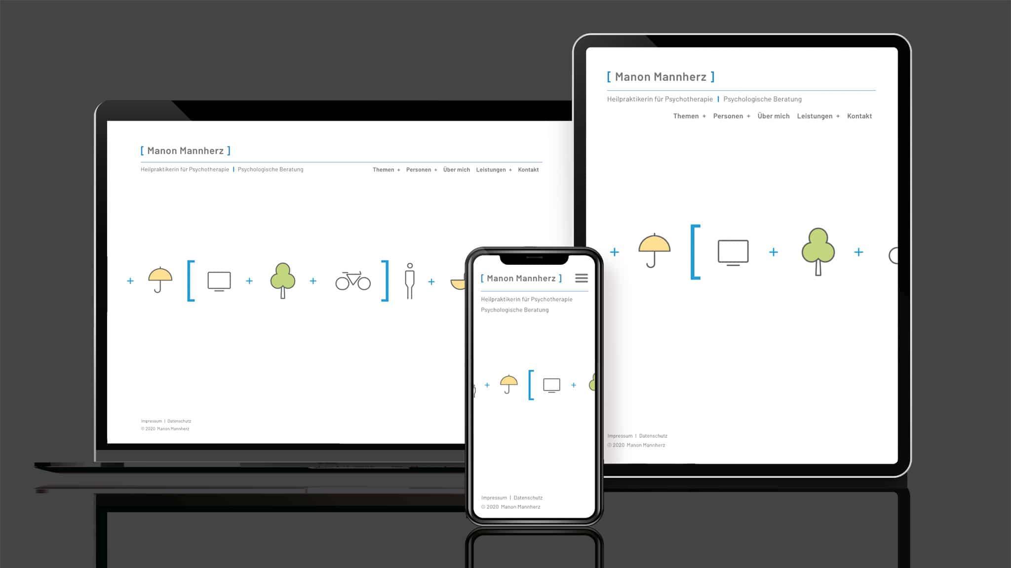 Responsive Design der Homepage für Coaching