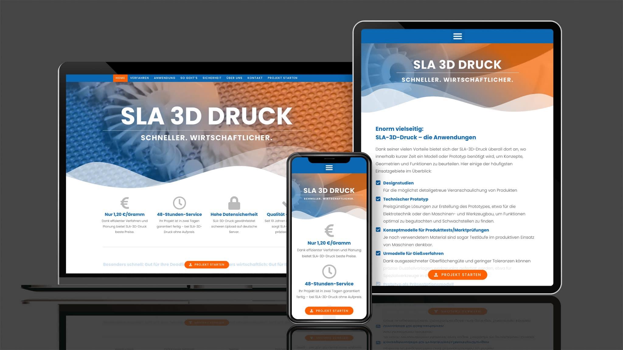 webdesign für sla Druck Anbieter